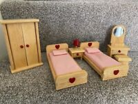 Dolls house wooden furniture and family