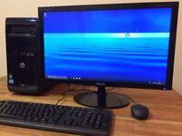 "GAMING PC HP Pro i5 Quad Core ,8GB Ram, 2TB, R5 200 2GB Graphics+ 24"" Samsung Monitor Win 10 Desktop"