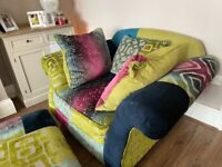 Patchwork statement chair and footstool