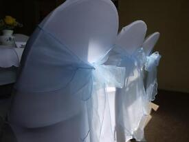 "Chair covers sashes tablecloths sweet jars China & "" Love "" sign for hire.."