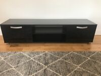 Large black TV unit with 2 gloss doors, good condition