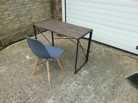 Folding Computer Desk Writing Table Home 100 x 50 x 75 cm Brown fair condition plus chair