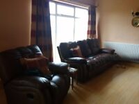 Brown three seater sofa & 2 chairs good condition