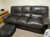 3 seater leather recliners x2