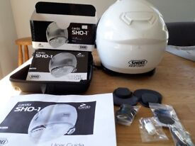 Motorbike Shoei Helmet with Cardo SHO-1 Bluetooth Communication System fitted