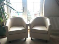 Tub armchairs x 2 - cream colour