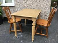 SMALL PINE COTTAGE KITCHEN TABLE AND 2 CHAIRS