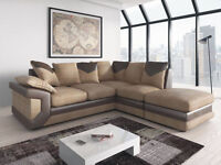 DINO JUMBO CORD BROWN/BEIGE CORNER + FREE FOOTSTOOL or 3+2 SEATER SOFA | EXPRESS DELIVERY ALL UK