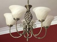 Classic Brushed Chrome Ceiling Light fitting with 5 Shades