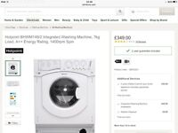 Integrated Hotpoint Washing Machine great condition