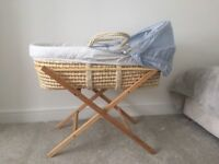 Moses basket from Mothercare, blue removable lining, includes stand
