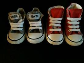 Two pairs of toddler Converse size 5