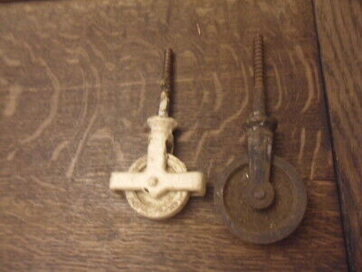 2 antique line lifting pulleys 2 odd pulley wheels for creels washing lines 10G
