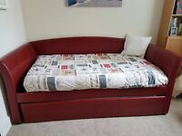 Burgundy Day Bed with Trundle with 2 Memory Foam mattresses