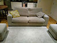 3 seater sofa with 2 storage foot stools