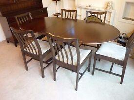 Stag Dining Table and six Chairs in dark mahogany/ see also my ad for matching Dresser