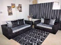 !!BLACK SILVER OR CHAMPAGNE!! Brand new Dylan Crushed Velvet corner or 3 + 2 Seater sofa -Same Day -