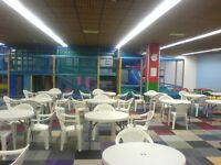 Job lot, playcentre cafe equipment. (tables, chairs, crockery, more)