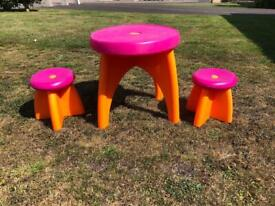 Small Child Table and 2 Stools