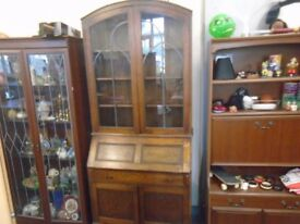 vintage bureau with book case