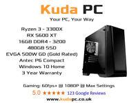 KUDA GAMING PC - Ryzen 3300X - 5600XT - 16GB DDR4 - 480GB SSD - WIN 10 - 3 YEAR WARRANTY - DESKTOP