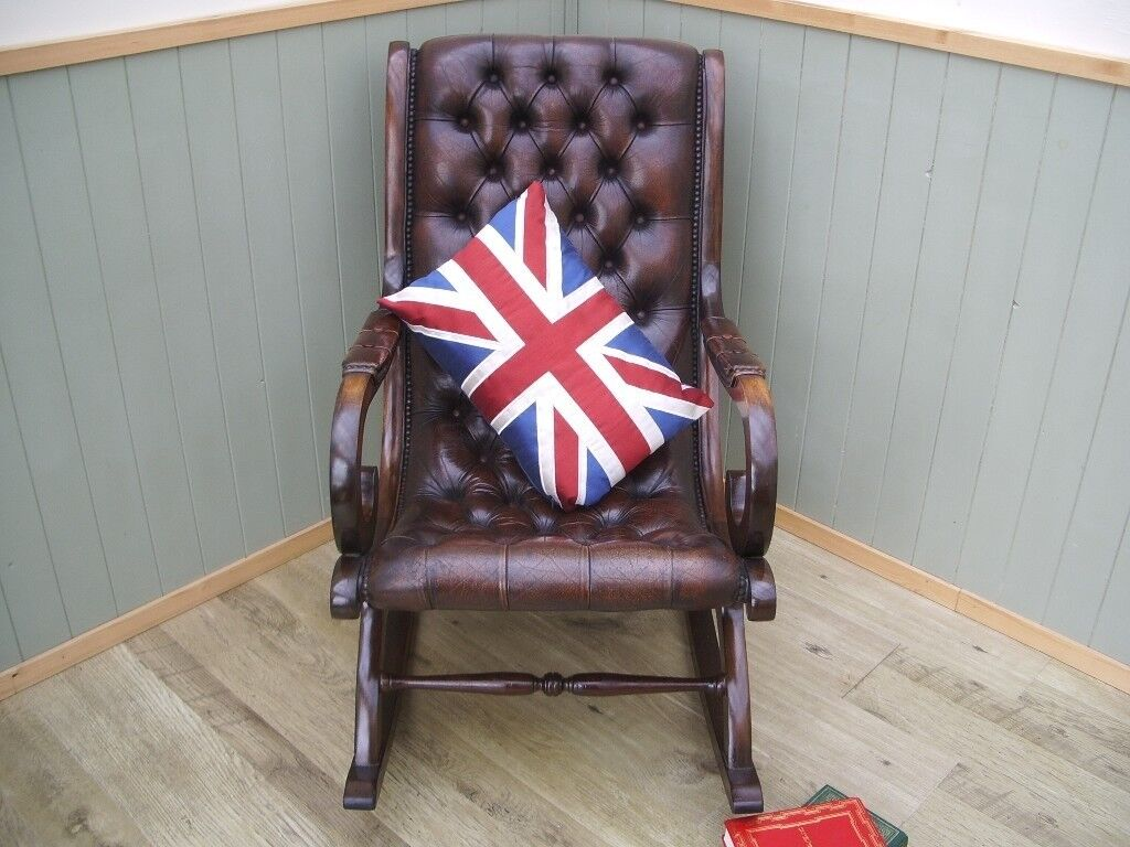 Stunning Brown Leather Chesterfield Rocking Chair.