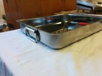 Large stainless steel baking tray with handles