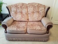 *NO COST VERY URGENT* Spacious Patterned 2 Seater Sofa in Excellent Condition + Soft Brown Throw