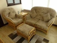 Conservatory cane furniture set. Double settee, chair, cushions, foot stool, table and TV stand.