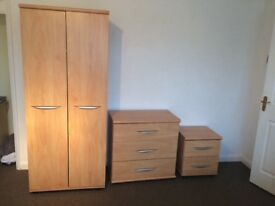 Bedroom furniture suite consisting of wardrobe, dresser and bedside table all in good condition