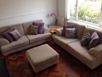 Two three seater sofa and foot stool