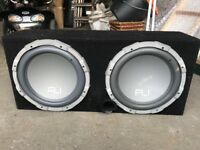 """X2 twin 12"""" FLI subwoofers and Pyle Amplifier"""