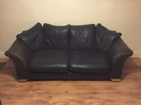 Blue Leather 2 Piece Suite, 3 and 2 seat Sofas