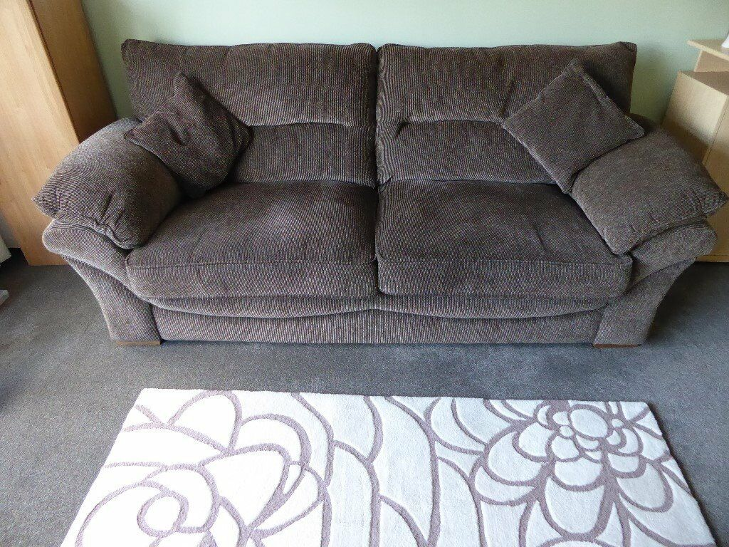 Oak Furniture Land Chloe Large Sofa High Back In Logan Fabric Brown
