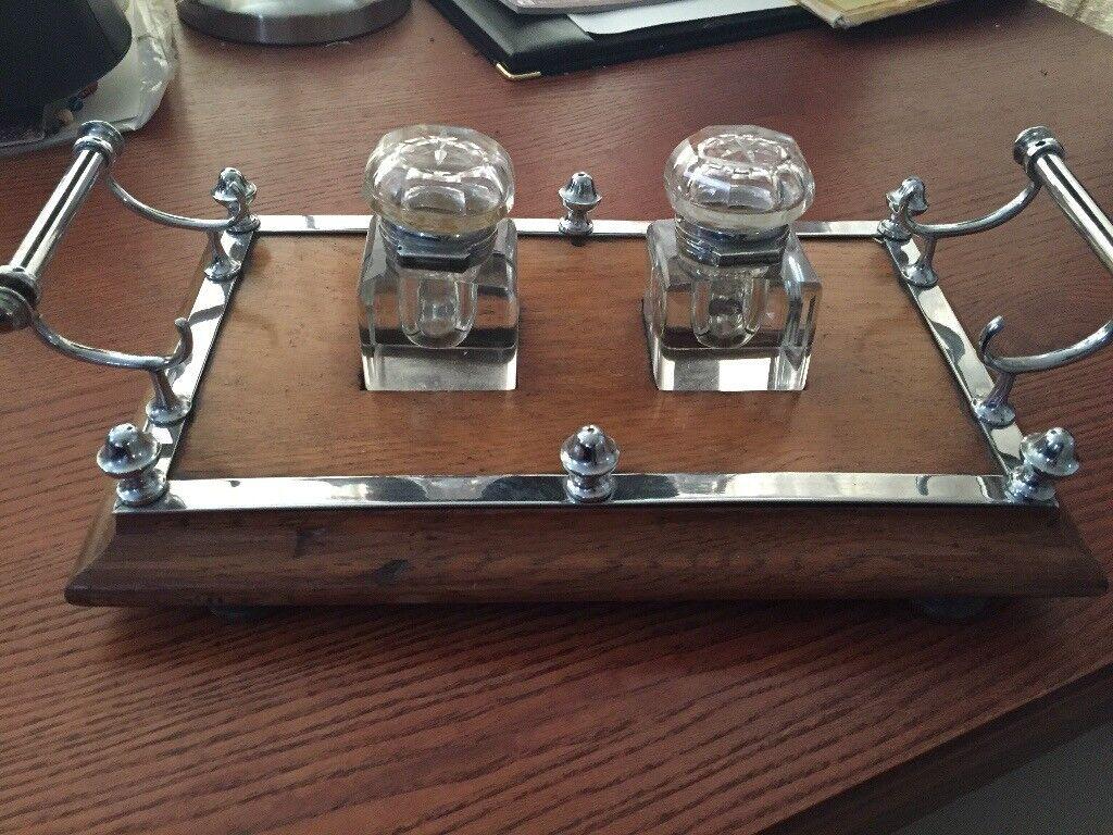 Lovely Christmas desk inkwell set. Ideal gift for