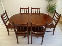 Dining Table & 6 chairs in chestnut pine