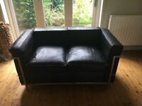 Pair of 2 seater leather sofas 'le corbusier' style