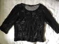 Topshop black cropped lacy top