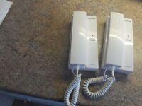 Pair of battery powered 2 way intercom phones