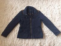 ZARA Barbour Style Jacket with Faux Leather Elbow Detail