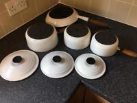 White le creuset pans 16cm 18cm 20cm pans with lids, Frying pan.