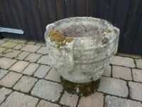 Old Weathered Concrete Planter / Urn
