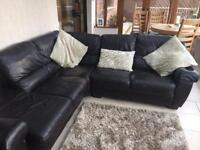 Brown leather corner sofa with matching two seater