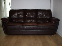 Leather 3 seater setee and matching reclining arm chair