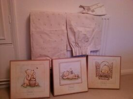 Winnie the Pooh curtains and pictures