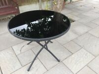 Table - folding black glass - with parasol