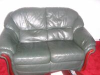 Green leather 2 two seater sofa sette