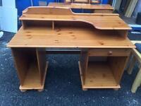 Large pine desk / dressing table