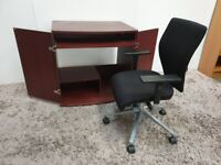 MDF Home Study Desk Mahogany Armchair Office Chair Black Used Furniture
