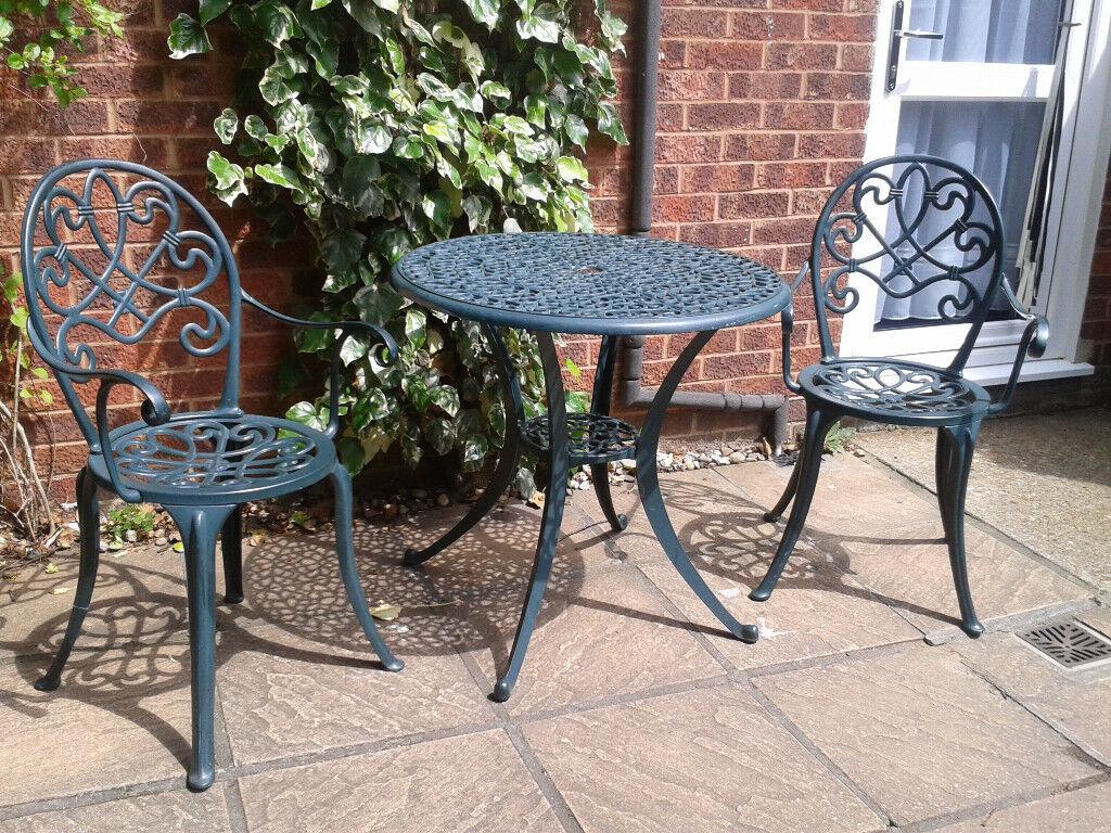 Patio Bistro Set Aluminium Cast Iron Table Chairs Garden ...